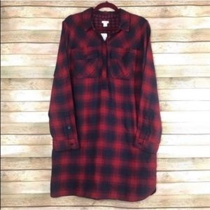 NWT J. Crew Factory Flannel Shirtdress Large